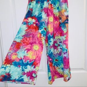 Jams World tie dye wide leg crop pants Hawaii XS